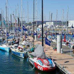 Lorient la Base, le 7 avril 2017, ambiances avant départ de la Lorient Bretagne Sud Mini 2017.